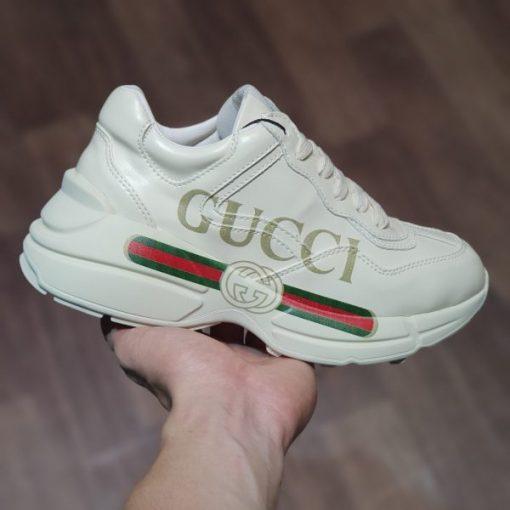 giay Gucci Rhyton logo leather sneaker logo chu ngang gucci rep 11 gia re Ha noi