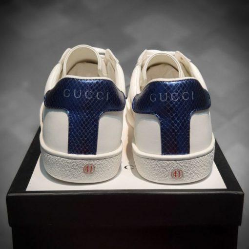 giay Gucci Ace Leather full phu kien mau xanh duong