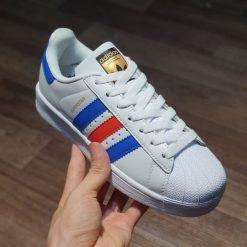 Adidas Superstar vintage ba mau White Red Blue gia re ha noi