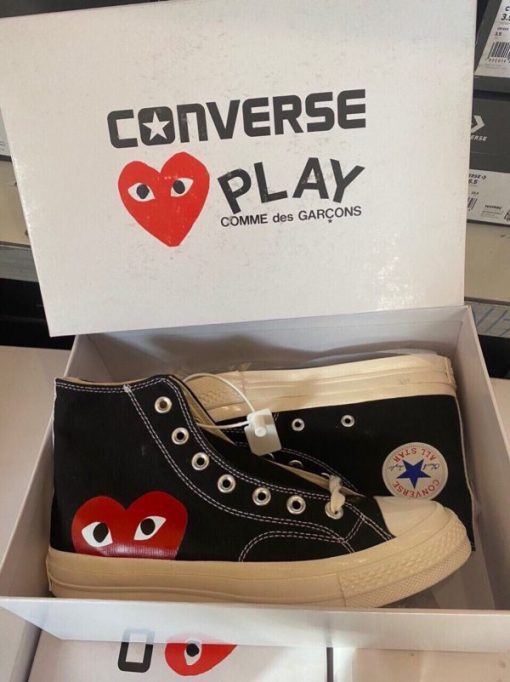 Giay Converse Chuck 70 x CDG Play Heart Trai tim mau den co cao