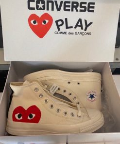 Giay Converse Chuck 70 x CDG Play Heart Trai tim mau trang co cao