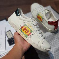 Giay Gucci Ace Leather logo ivory logo to rep 11 gia re ha noi