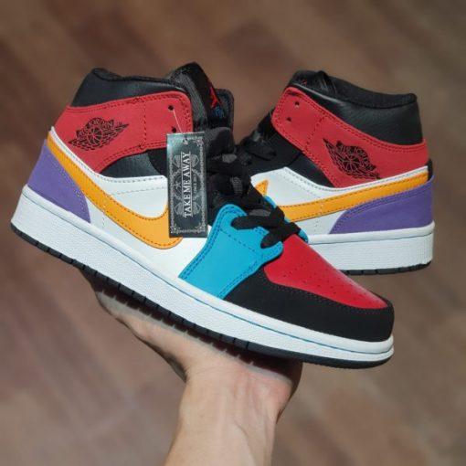 Giay Nike Air Jordan 1 Mid Bred Multi Color rep 11 gia re ha noi