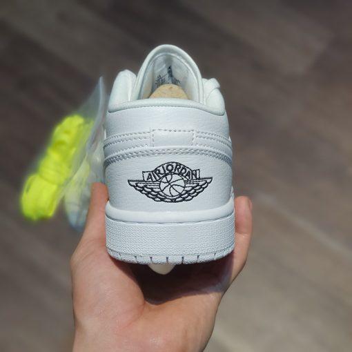 giay Air Jordan 1 Mid BG Triple White trang full cổ thấp