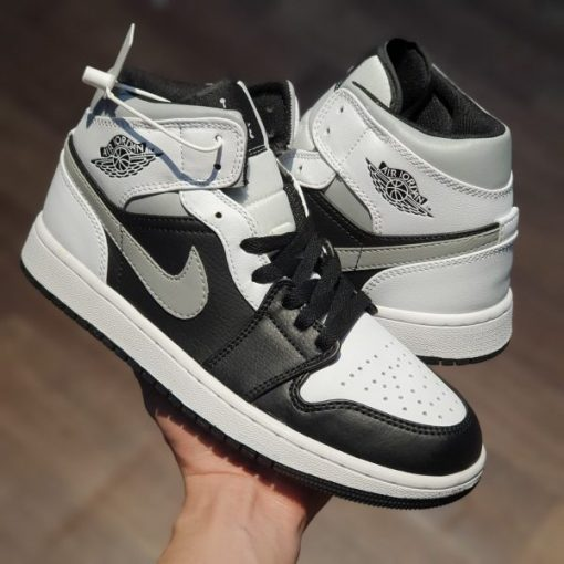 Giay Nike Air Jordan 1 Mid black Smoke Grey rep 11