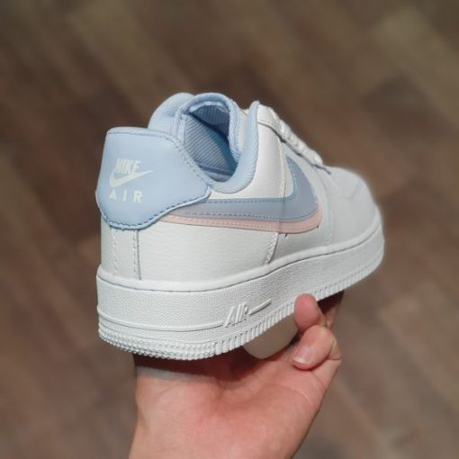 Giay Nike Air Force 1 LV8 GS Double Swoosh Blue Pink Younger logo Hong xanh rep 11 gia re