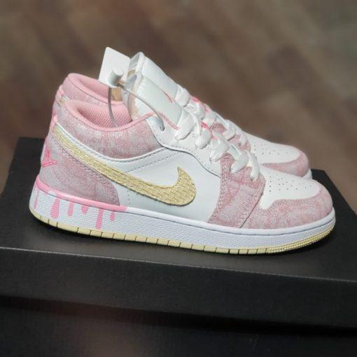 Giay Nike Air Jordan 1 GS Strawberry Ice Cream hong vay son co thap rep 11 gia re