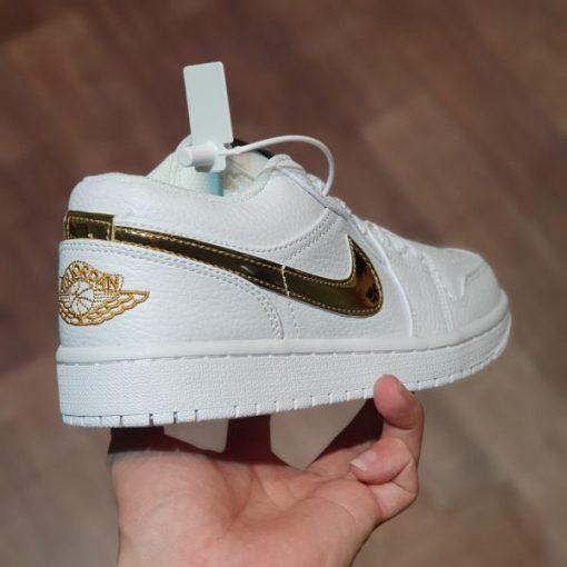 Giay Nike Air Jordan 1 Low White Metallic Gold trang gold rep 11 gia re ha noi