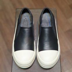 giay Rick Owens - Boat Leather Slip-On Sneakers - Men - Black giay RO slip on da rep 11 gia re ha noi